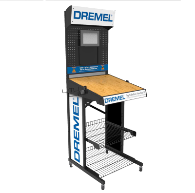 Dremel Custom Product Displays - made of wire and wood
