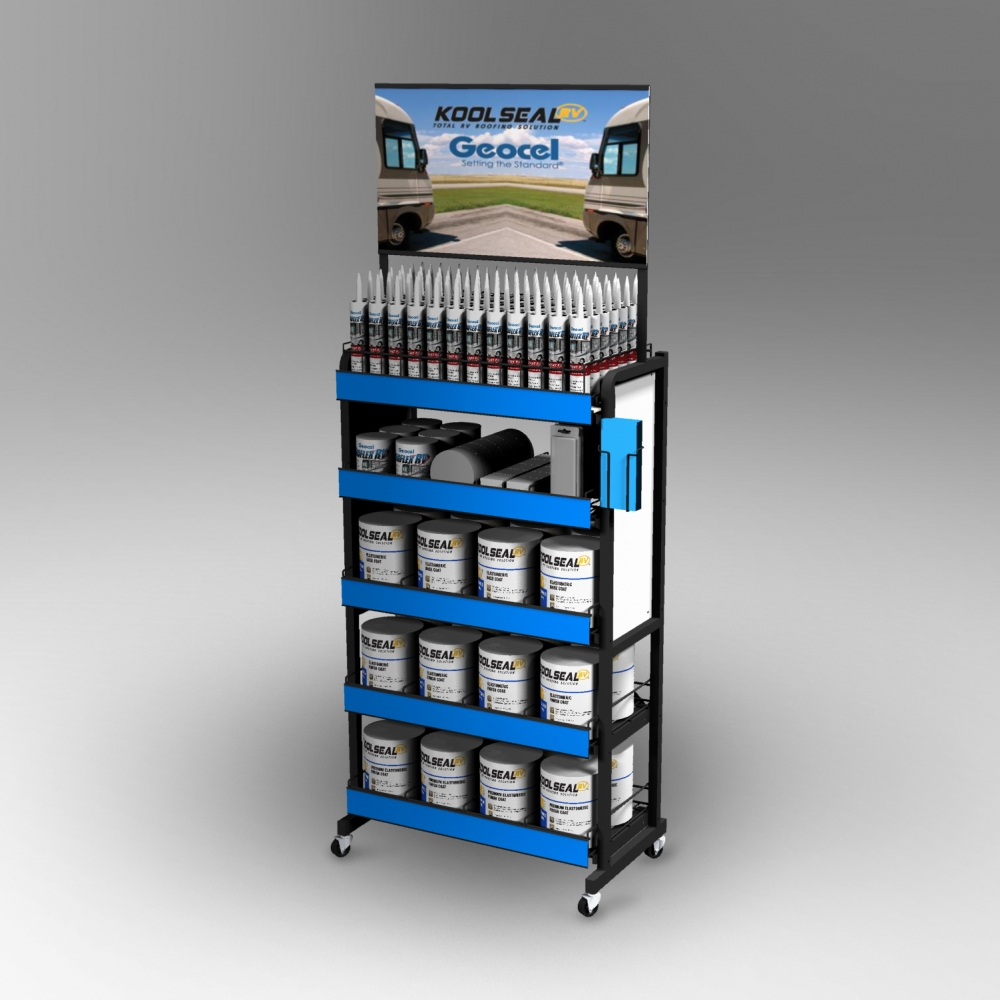 Rolling Floor Display - Featuring a large header graphic, side graphics and shelf channels