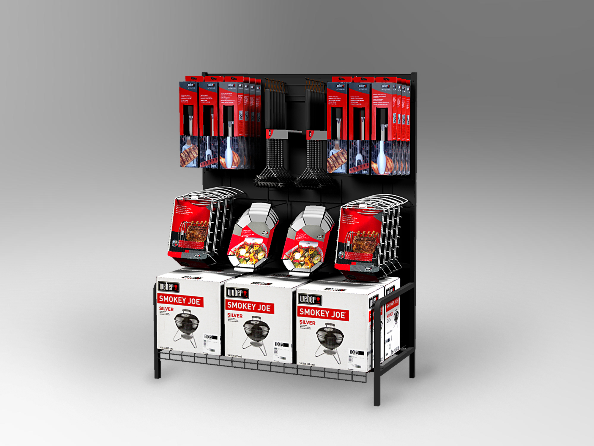 Inline Display - Incorporating custom hangers to hold uniquely shaped products