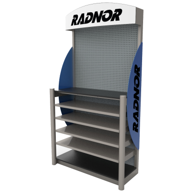 Radnor Custom Product Display - made of wire, metal and wood