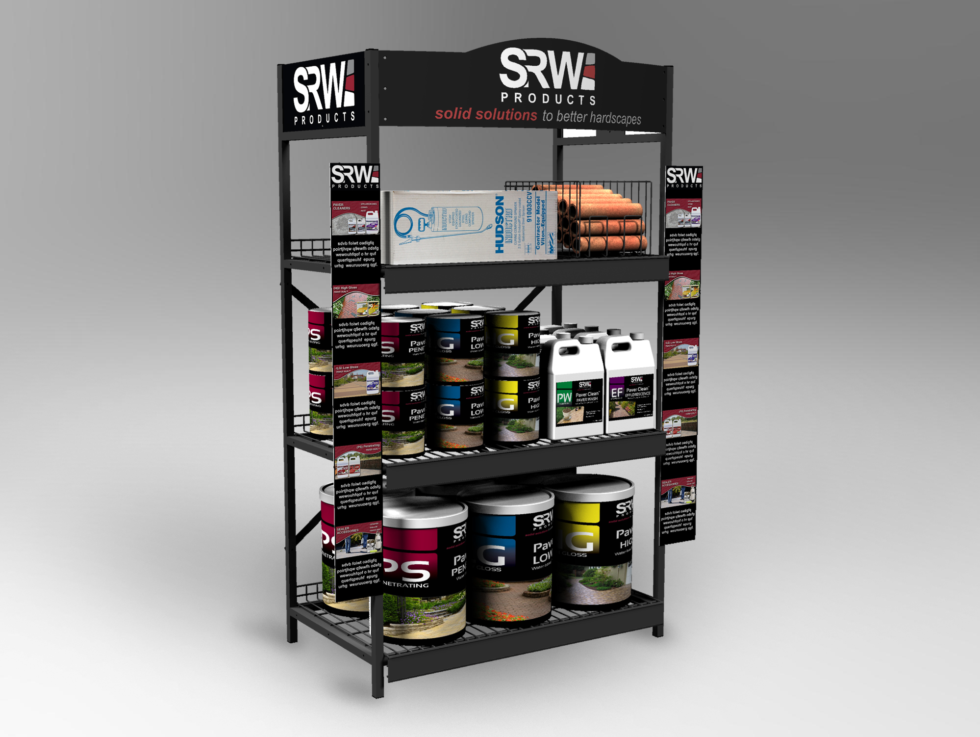 Large Floor Display - Integrating graphic panels and a shaped header