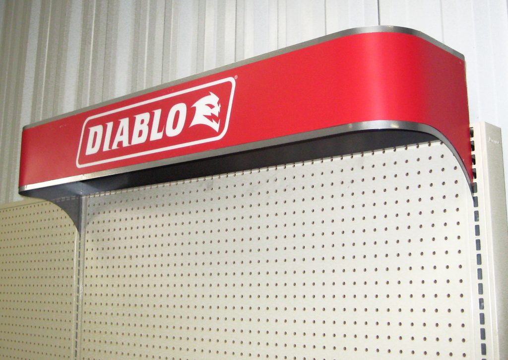 Diablo hanging POP display.