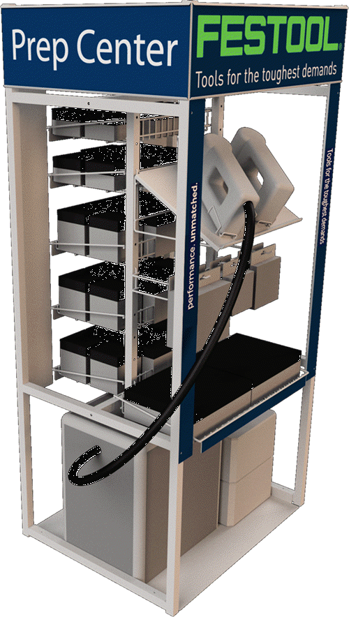 Floor Display with Shelves- Sanding and Vac System Display.