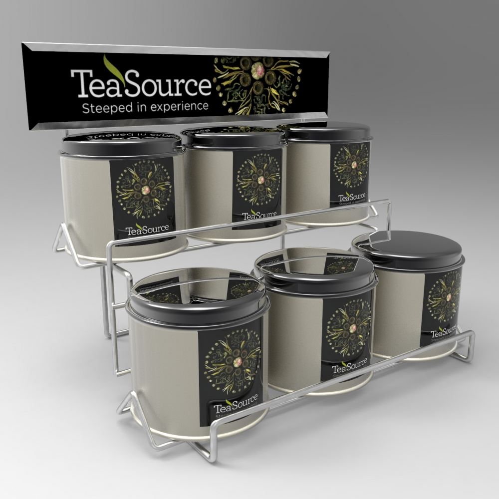 Custom point of purchase counter shelf display for tea manufactured by Keystone Displays.