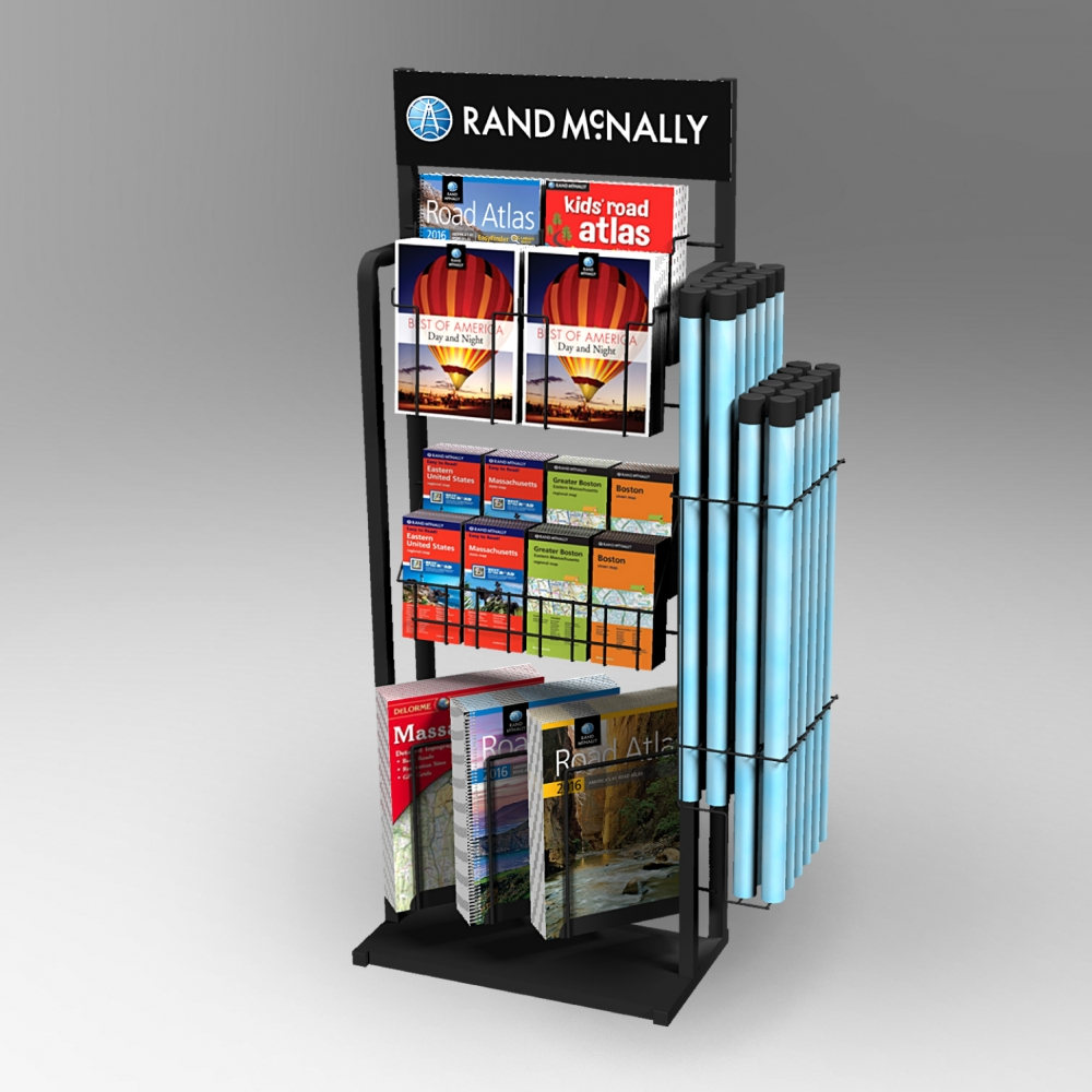 Custom point of purchase wire floor display for maps manufactured by Keystone Display