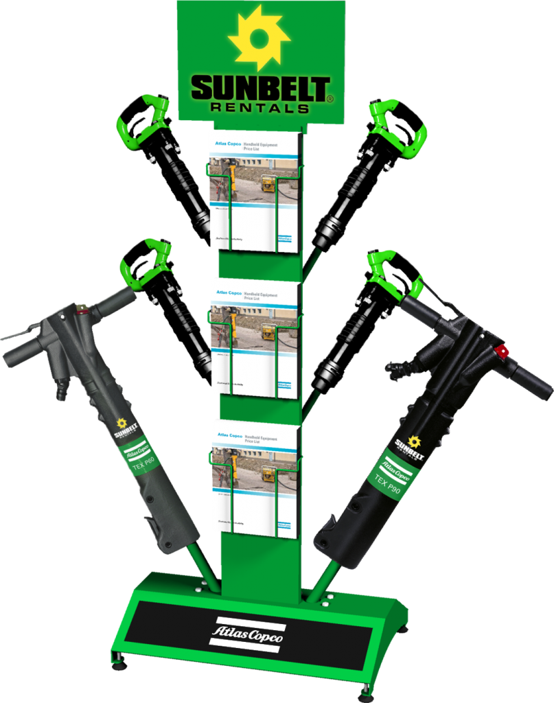 Custom point of purchase jack hammer equipment display manufactured by Keystone Displays.