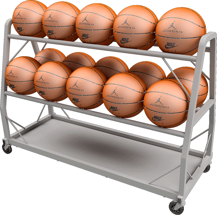 Custom point of purchase rolling basketball rack display manufactured by Keystone Displays.