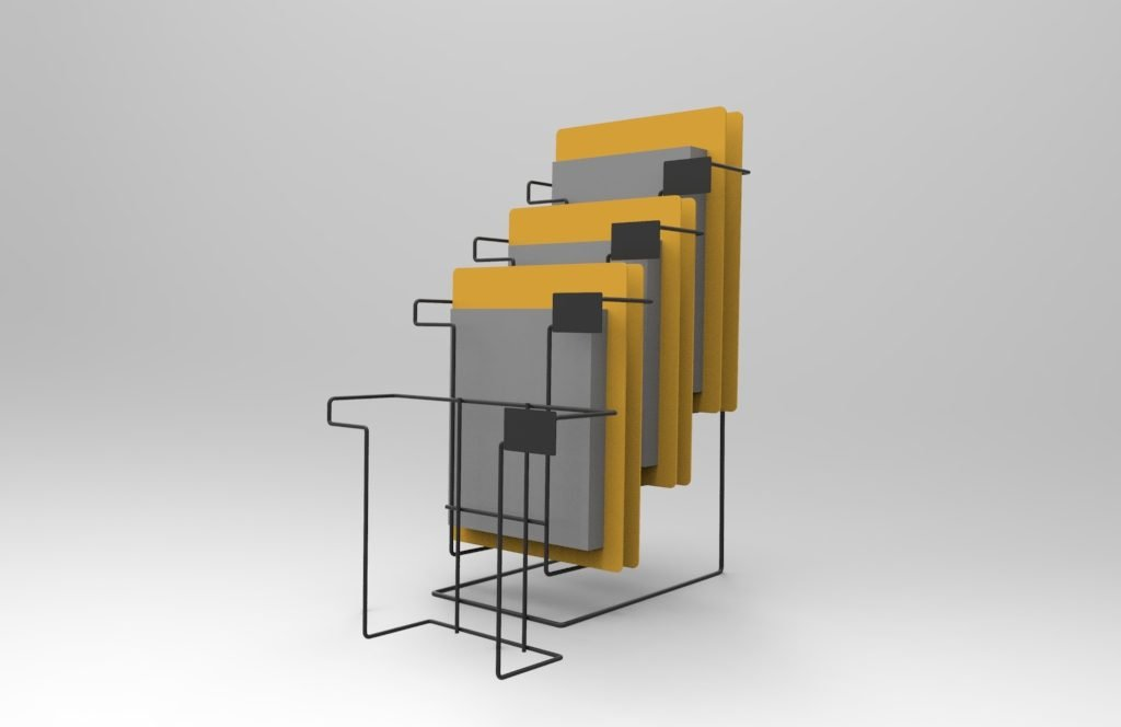 Custom wire grid point of purchase waterfall display.
